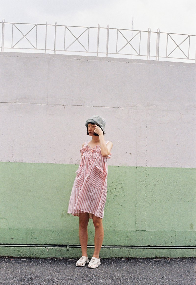 Jumper Dress (Peach Stripe)
