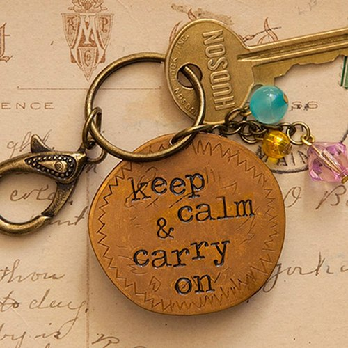 Copper key ring - keep calm & carry on