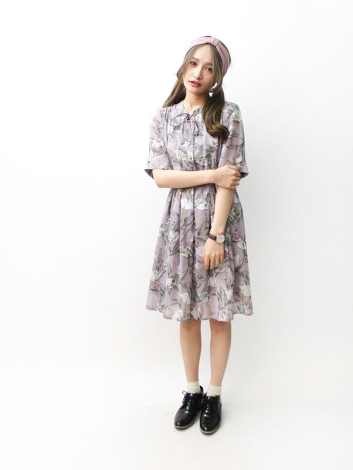 [RE0322D996] Nippon retro flowers purple gray linen short-sleeved dress spring and summer vintage