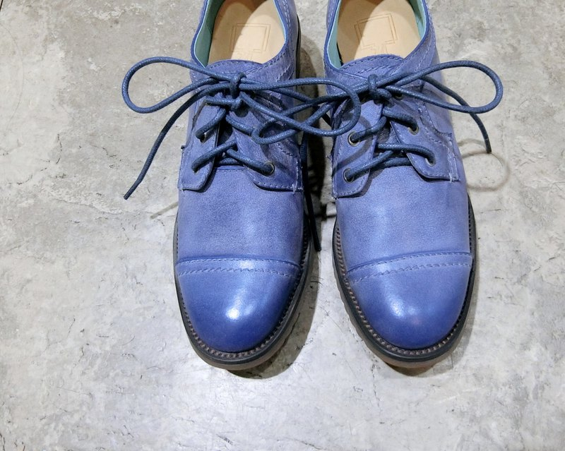 Small square gentleman shoes || Coastal sketches of the daily shore blue || # 8095