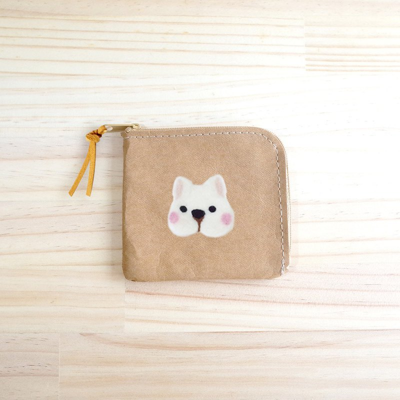 [Q-cute] washed kraft paper series - short clip - dog head / custom
