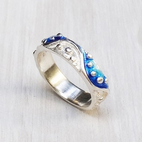 Color wave Silver ring_blue of