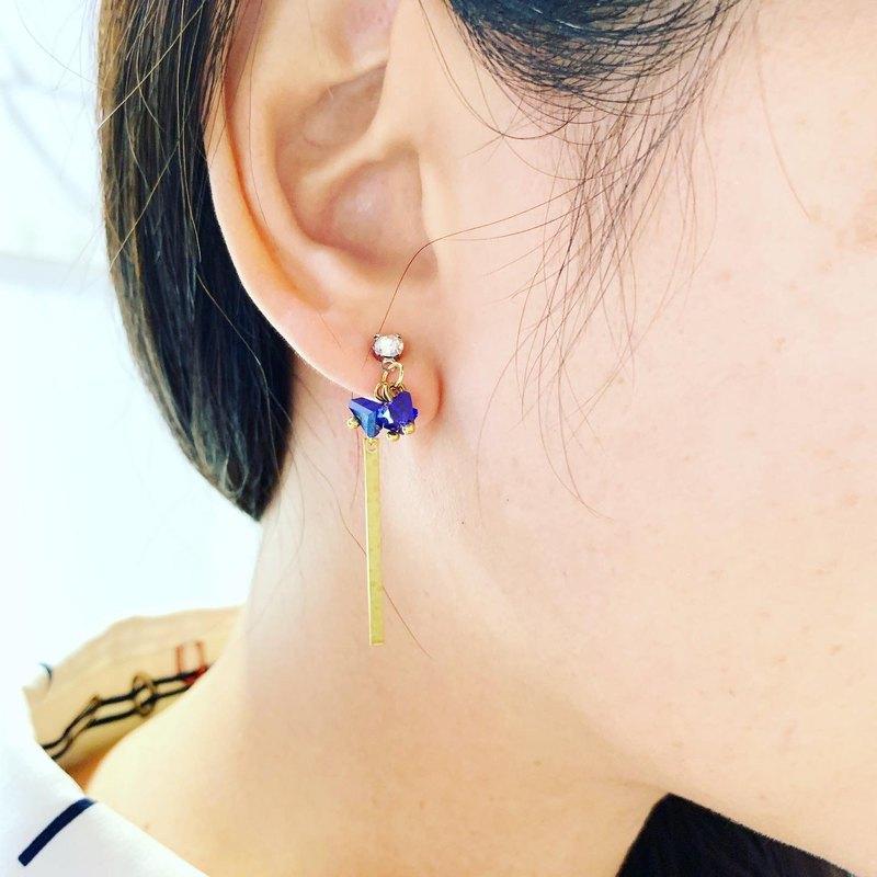簡約三角形寶藍色水晶銅耳環_可拆開變兩副配戴免費修改夾式耳環
