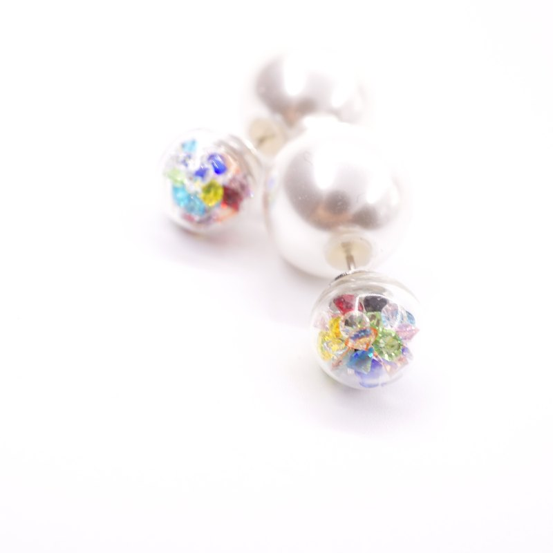 A Handmade rainbow hues crystal ball around with large pearl earrings