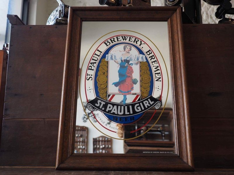 Early German St. Pauli Girl beer wooden mirror JS