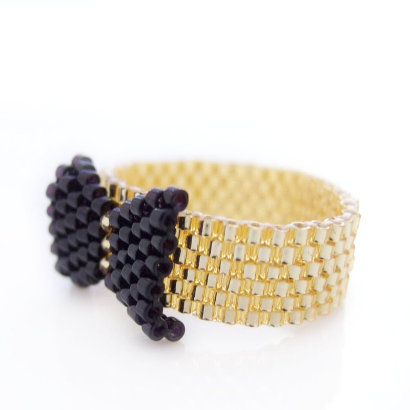Black Bow Ring, Beaded Black Ring, Black and Gold Ring, Beaded Bow Ring, Preppy