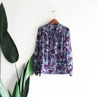 River Water Mountain - Kagoshima Pure Purple Sky Blue Youth Block Antique Silk Spinning Shirt Top