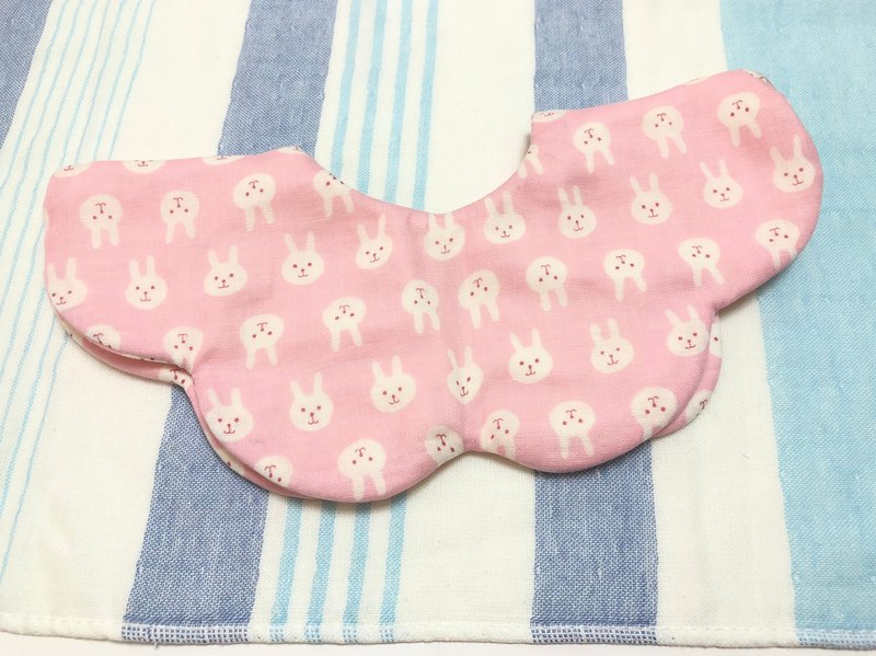 Rabbit (Pink) / Japanese eight-layer yarn three-stage growth bib. Saliva towel - double-sided petal shape
