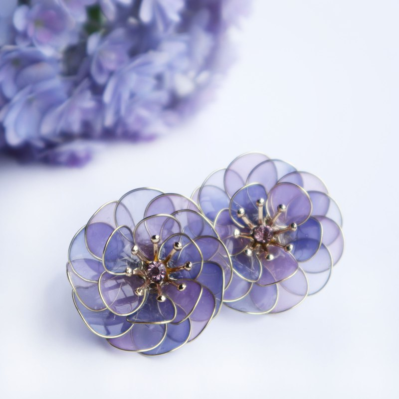 Shiny flower earring purple