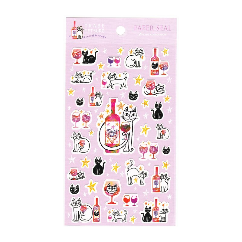 Japan limited import Okabe Tetsuro cat sticker [pink / red wine]