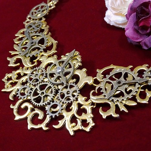 Gorgeous necklace _Steampunk steam Pang gear