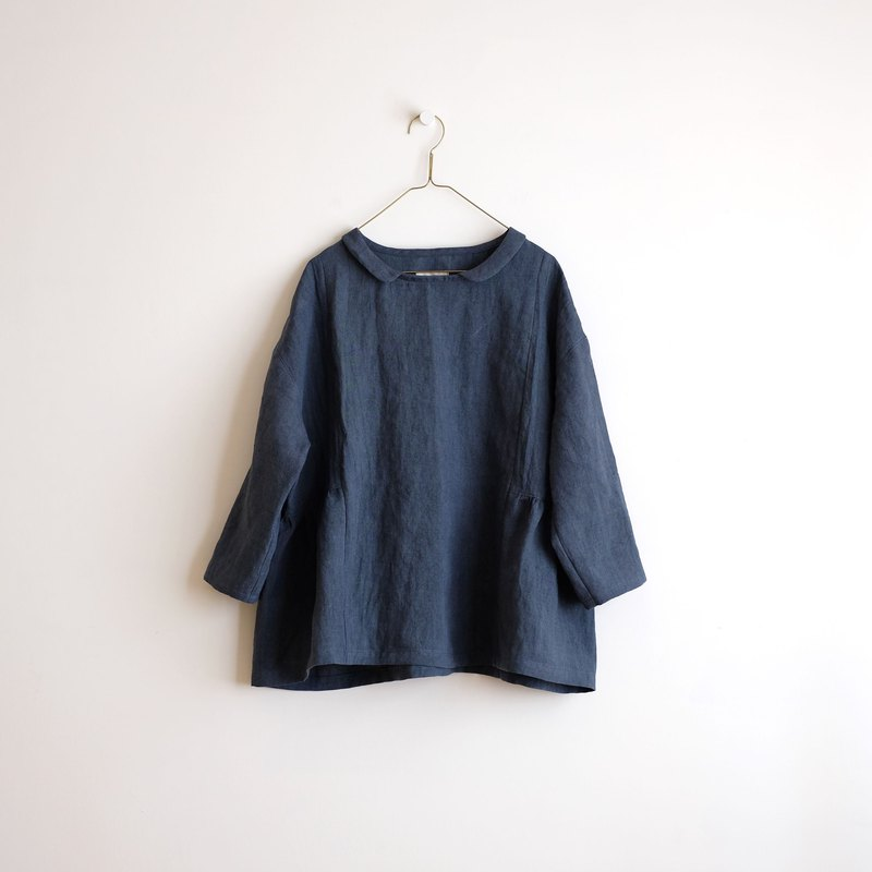 Daily hand-made suit steel blue small collar 襟 nine wide blouse washed linen
