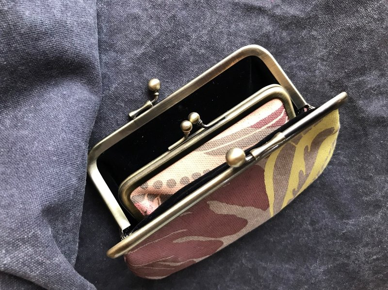 Handmade silk mouth mouth gold mother and daughter coin purse