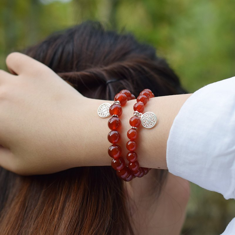 Married into the wealthy wealthy bracelets not yet VISHI original natural red agate 925 sterling silver wedding homemade women