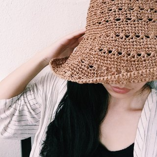 Hand-woven material bag - hollowed out straw hat