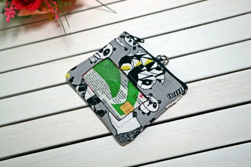 Gray Panda travel card documents wallet / ID card change sets / wallet / zipper coin bag / card holder / travel card / identification card*SK*