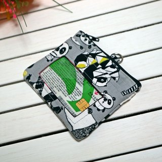 Gray bottom panda leisure card certificate coin purse / document set change set / small wallet / zipper coin bag