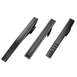 3 PCS Mens Black Gunmetal Tie Clips Set