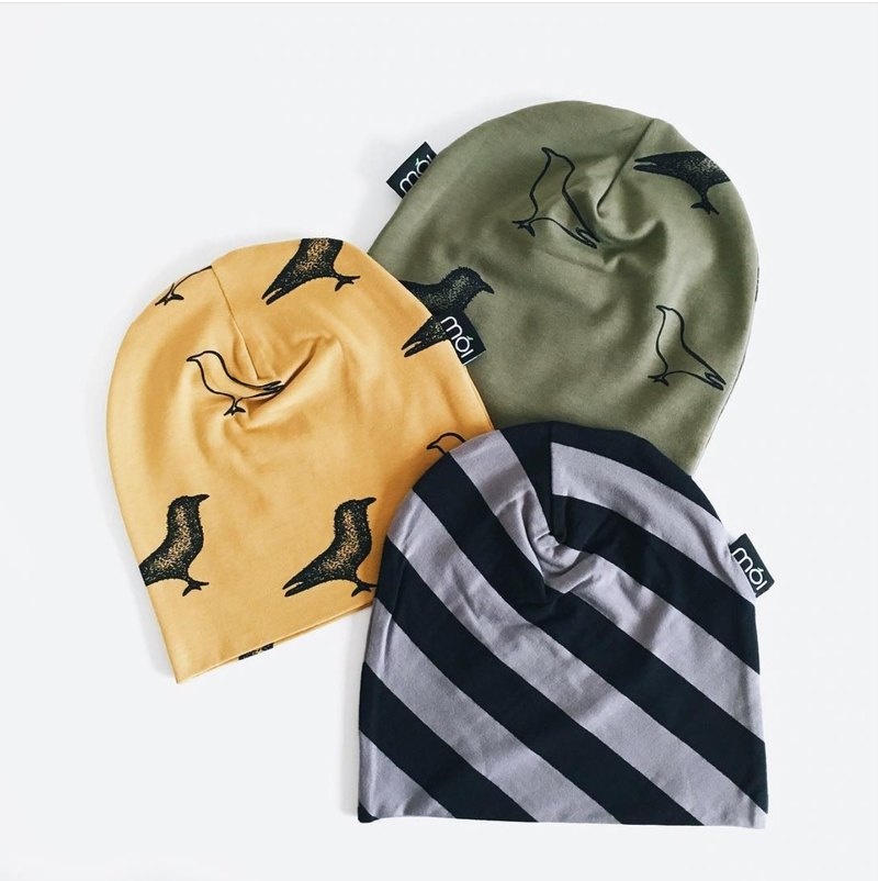 [Nordic children's clothing] Icelandic organic cotton can be folded back double-sided cap / double-sided dark green