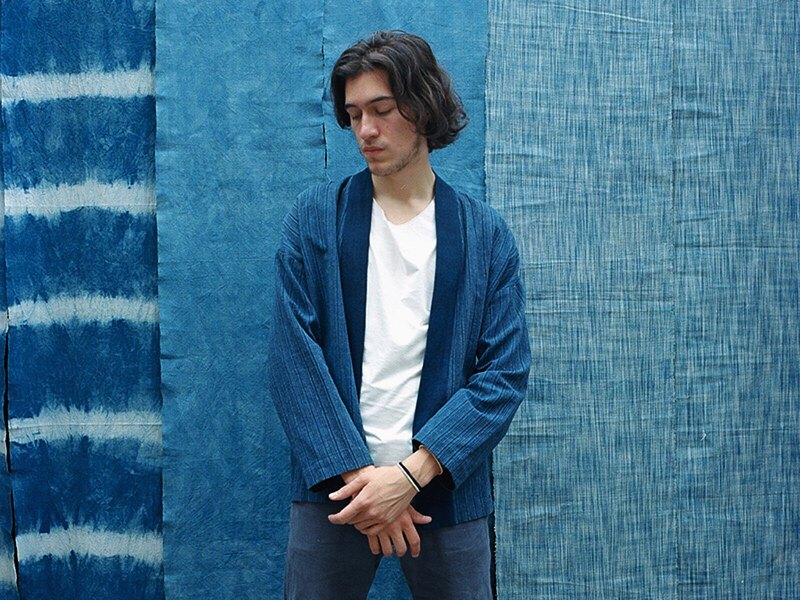 Blue dyed solid color hand-woven stripe jacket jacket Japanese style oversized men's and women's jacket Kimono jacket