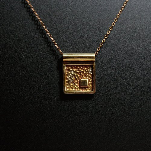 square. Brass necklace