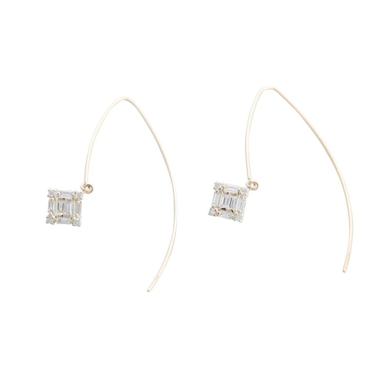JewCas Carre series 10K gold diamond earrings _BJC7076d