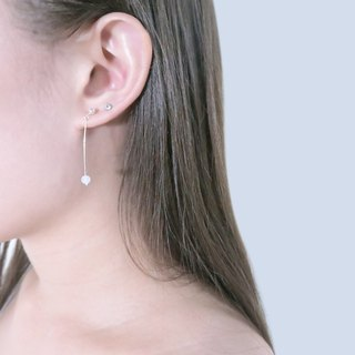 White Crystal Streamer Earrings (Small) - 925 Sterling Silver Natural Stone Earrings