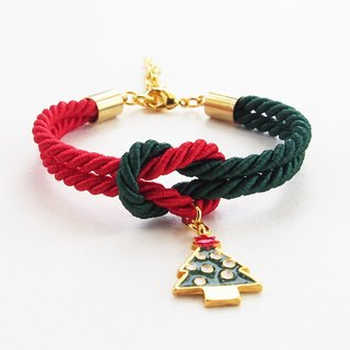 Christmas gift collection , Red/Green knot rope bracelet with Christmas tree charm