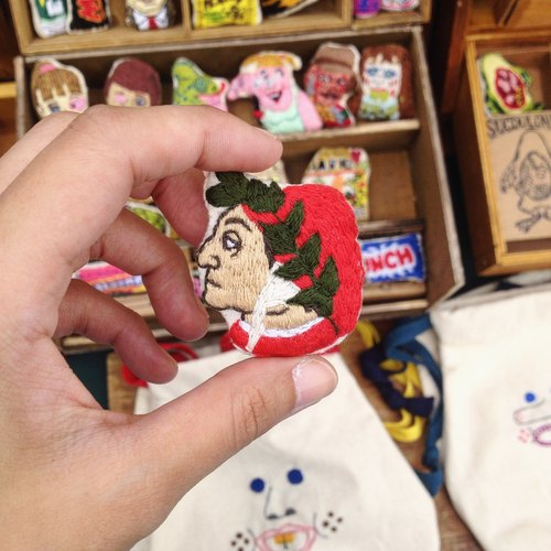 Celebrity Collection Dante Alighieri (Half) / Hand Embroidery Brooch Pin Brooch