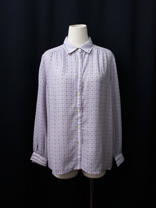 [RE0215T1773] retro pink and purple plaid shirt loose vintage