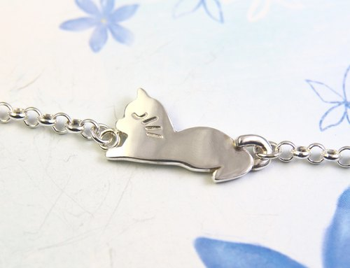 <Engraving Accepted>Sterling Silver Bracelet/Silver Kitty Bracelet/Cat
