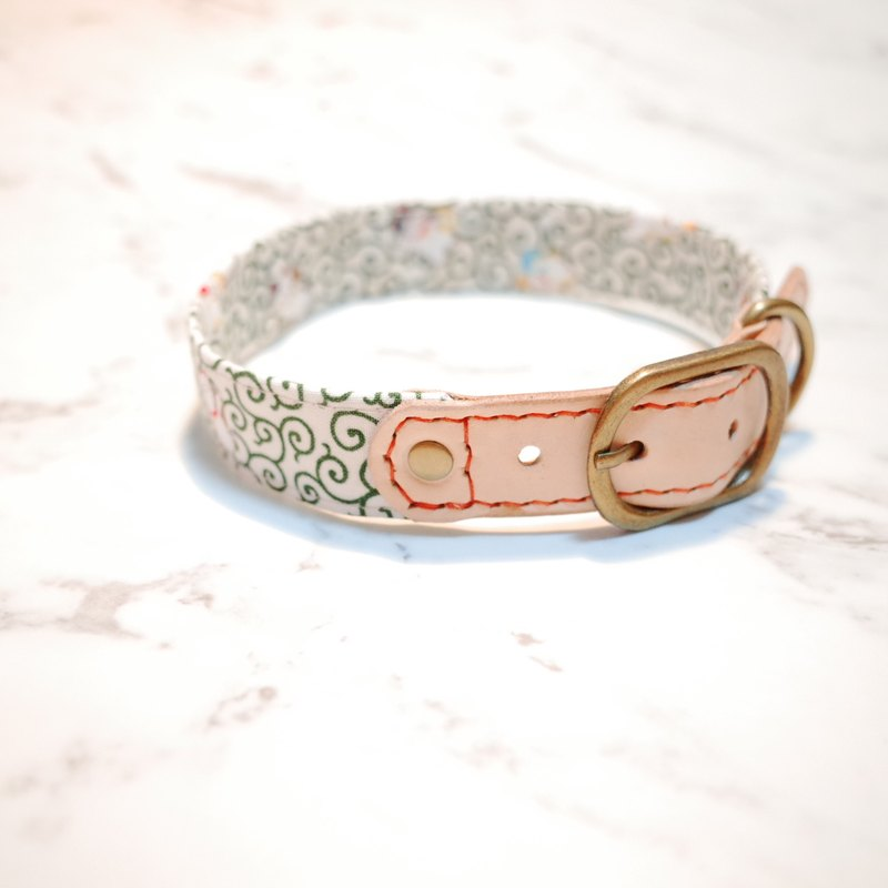 Dog collar l number of my Lucky cat Japanese cloth wind green pattern with bells planted skin does not contain tag