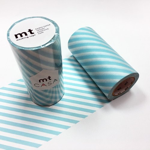 KAMOI mt CASA tape 100mm【Stripe - Mint Blue (MTCA1105)】
