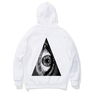 Triangle Eye (Spot) Long-sleeved bristles hooded T 2-color triangle eye geometry design their own brand of fashion circle bright justice