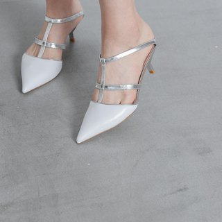 Cross structure hollow low heel sandals silver white