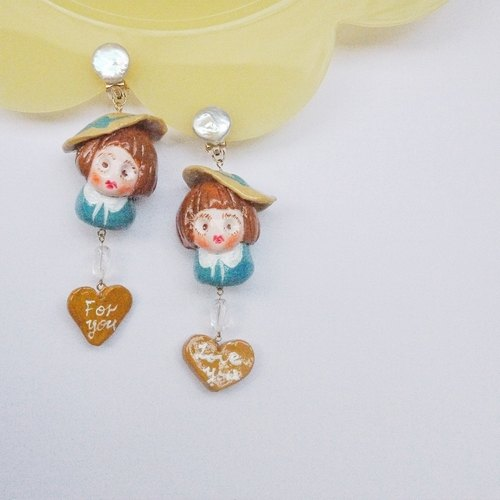 Retro Little Girl Earrings Hand Clay Earrings Earrings