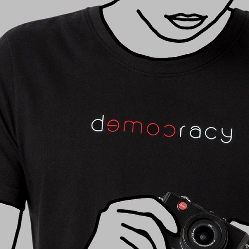 【Black】Democracy come T-Shit / 100%cotton / Words for MIRROR only / MIT