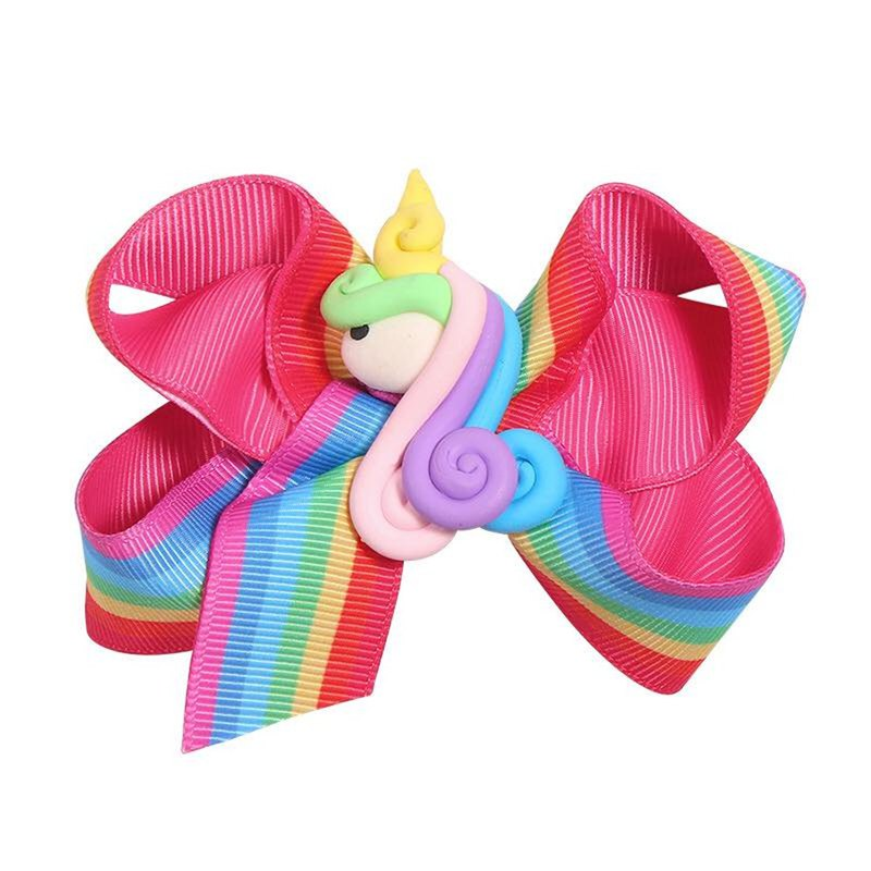 Unicorn double bow hairpin all-inclusive cloth handmade hair accessories Rainbow