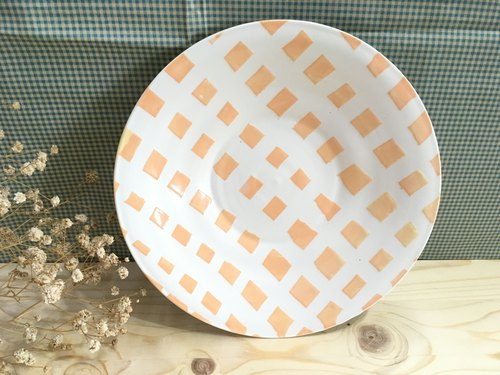 Checkered orange - hand made pottery dish
