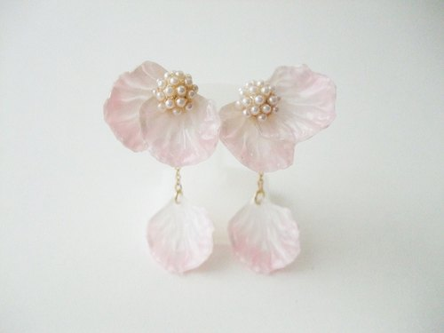 2way Flower earrings ☆ Sweet Pink