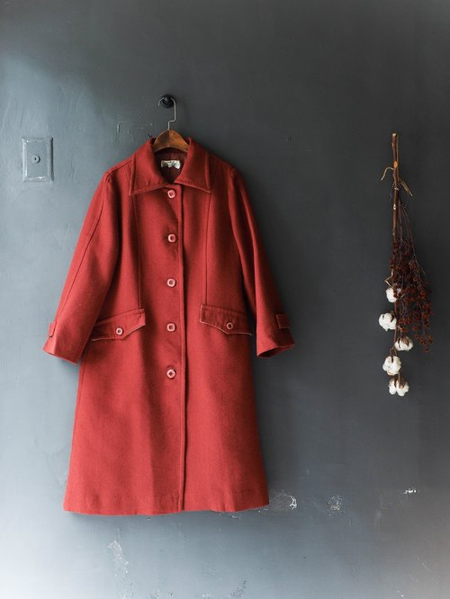 River Water - Iwate brick red winter Sentimental love season sheep antique fur coat wool fur vintage wool vintage overcoat