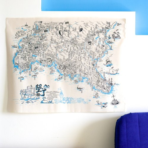 "The south of the border - Kenting ◀ ""see the cloth."" Canvas map [a cup of tea time, that is, travel. 】 Taiwan impression souvenir × home life × store decoration × personalized travel × foreign gift × map of Kenting, Taiwan"