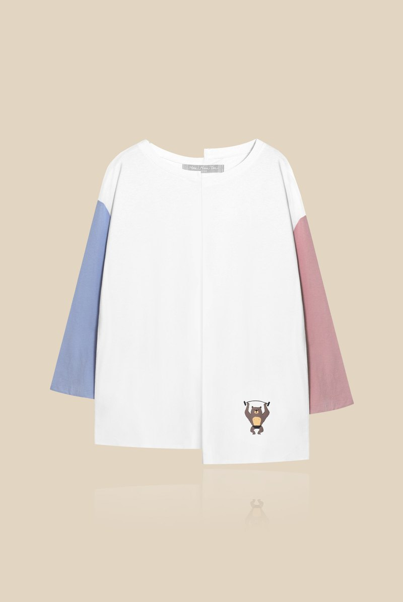 [Exclusive Limited] Power of Love - Chocolate Bear Sang Asymmetrical Color Sleeve T