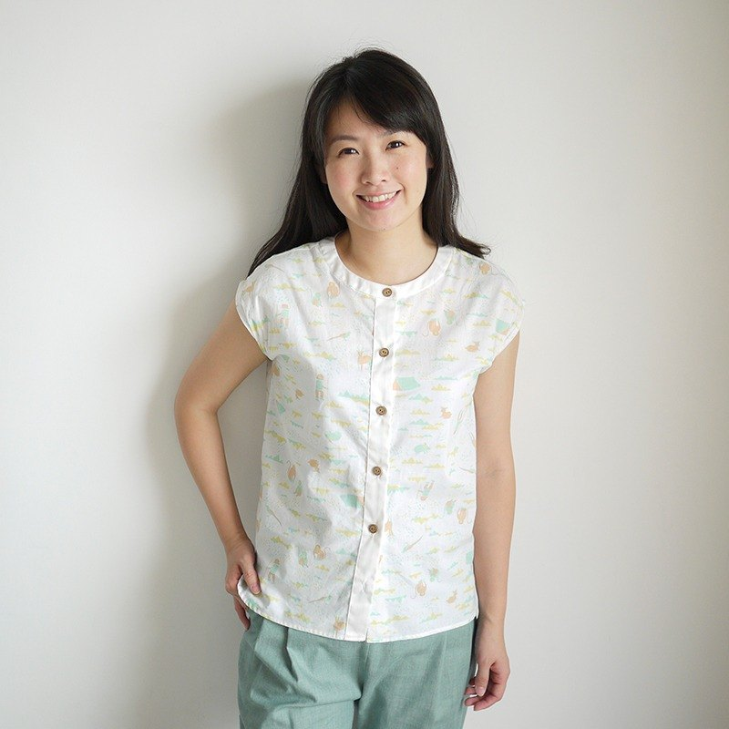 Mountain Sleeveless Sleeve Shirt_White_Adult (fabric by inBlooom)