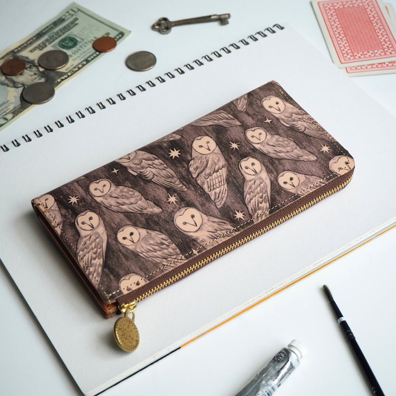 L-shaped zipper wallet / holy owl ILL-1156