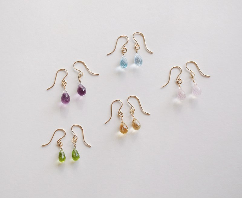 14KGF powder crystal amethyst citrine peridot topaz natural stone earrings can be changed ear clip