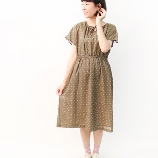 Made in Japan Retro Simple Yellow Dotted Brown Short Sleeve Loose Vintage Dress Vintage Dress