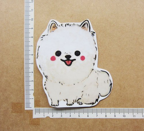 Hand-painted illustration style perfectly waterproof sticker White Pomeranian Pomeranian squirrel dog