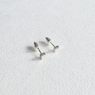 Square/Smooth/Earrings/Sterling Silver/By hand【ZHÀO】SZE1660