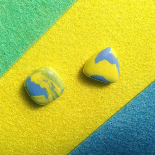 summerlol- any [2] Free transport blue handmade limited edition yellow color geometric pattern marble head triangle clay square clay earring triangle rectangle Geometric Marbling Colored Earrings